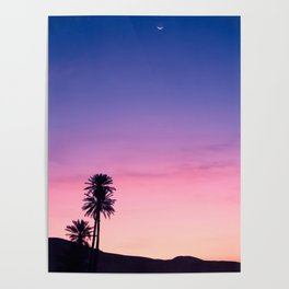 Sunrise Moon and Star over the Moroccan Desert Poster