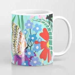 Butterflies and Moths Pattern - Blue Coffee Mug