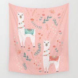 Lovely Llama on Pink Wall Tapestry
