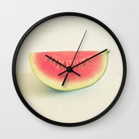watermelon Wall Clocks featuring Watermelon by Cassia Beck