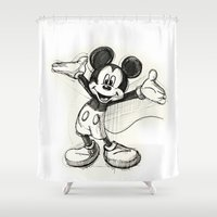 mickey Shower Curtains featuring Mickey Mouse by Herself