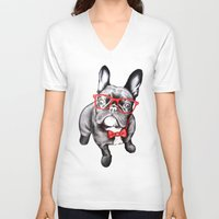 dog V-neck T-shirts featuring Happy Dog by 13 Styx