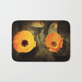 A close-up of a flower of Adonis on a grunged canvas background Bath Mat