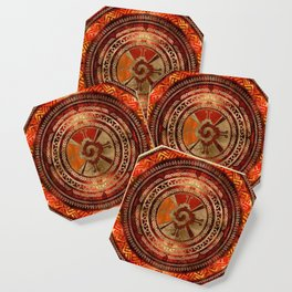Hunab Ku Mayan symbol Burnt Orange and Gold Coaster