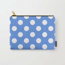 United Nations blue - turquoise - White Polka Dots - Pois Pattern Carry-All Pouch