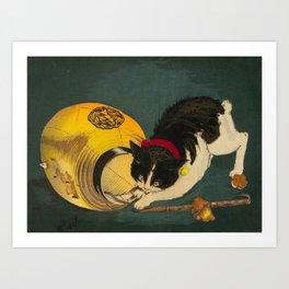 Kobayashi Kiyochika Black & White Cat Fluffy Cat Japanese Lantern Vintage Woodblock Print Art Print
