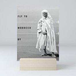 retro monochrome Fly to Morocco Mini Art Print