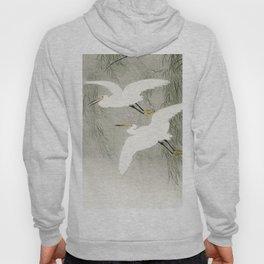 Flying Egrets - Japanese vintage woodblock print Hoody