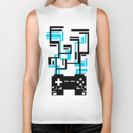 8-BIT JOYSTICK (BLUE AND BLACK) Biker Tank