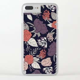 Purple, Gray, Navy Blue & Coral Floral/Botanical Pattern Clear iPhone Case