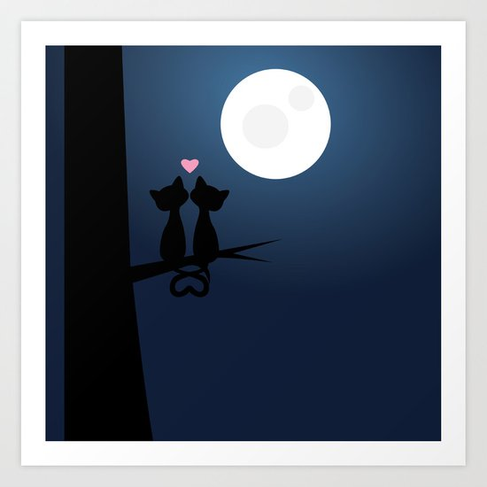 Cats Under The Moon Art Print