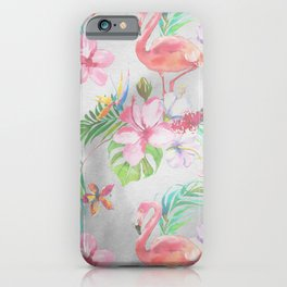 Pink lilac green watercolor hand painted tropical floral flamingos iPhone Case