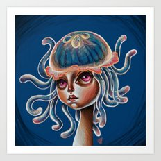 Jellyfish Head pop Surrealism Illustration Art Print