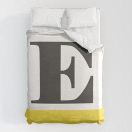 Monogram Letter E-Pantone-Buttercup Duvet Cover