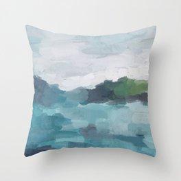 Aqua Blue Green Abstract Art Painting Throw Pillow