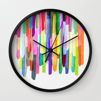 stripes Wall Clocks featuring Colorful Stripes 4 by Mareike Böhmer
