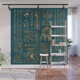 Egyptian hieroglyphs and deities - Gold on teal Wall Mural