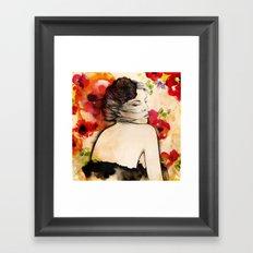 Lucy in flower fields Framed Art Print