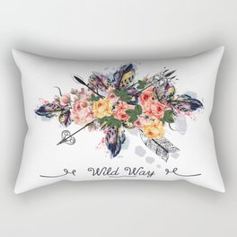 Art boho design with arrows, feathers and flowers. Wild way Rectangular Pillow