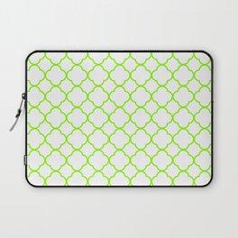 Green, Lime: Quatrefoil Clover Pattern Laptop Sleeve
