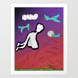 Flight with birds Art Print