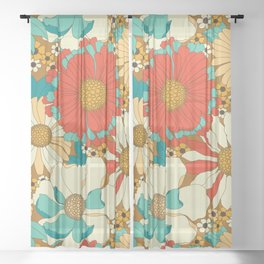 Red, Orange, Turquoise & Brown Retro Floral Pattern Sheer Curtain