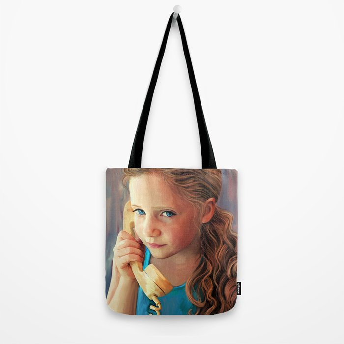The Confidante - painting of a young girl on the phone Tote Bag