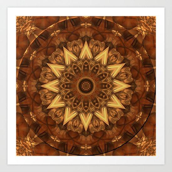 12-sided kaleidoscope in earth tones Art Print