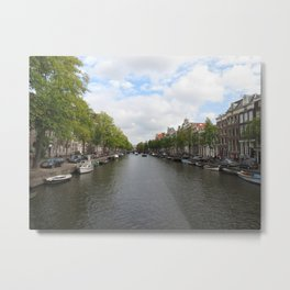 Amsterdam, Netherlands canal in the Fall with nice blue skies Metal Print