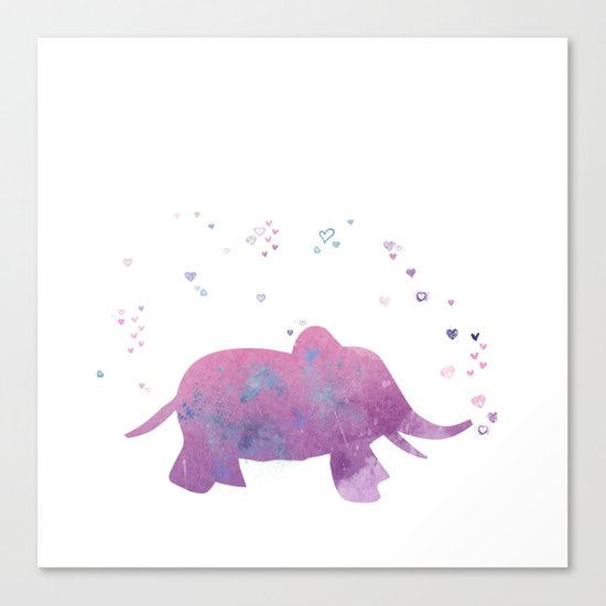 Love is in the air - Elephant animal watercolor illustration Canvas Print