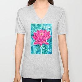 Sacred Lotus – Magenta Blossom with Turquoise Wash Unisex V-Neck