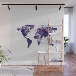 Purple World Map Wall Mural