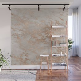 Rose Gold Copper Glitter Metal Foil Style Marble Wall Mural
