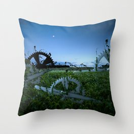Sprockets in the Mist Throw Pillow