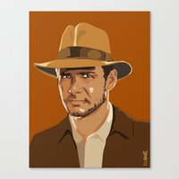 indiana jones Canvas Prints featuring Indiana Jones by Aimee Liwag
