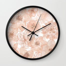 Flowers and Lace- Floral pattern in pink Wall Clock