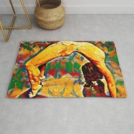 2057s-JPC Flexible Woman Back Bend Yoga Square Golden Tones Rug