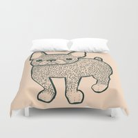 french bulldog Duvet Covers featuring French Bulldog by Syrupea