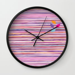 multicolored stripes pattern with leaves Wall Clock