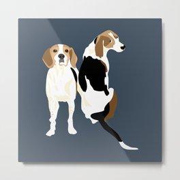 Gracie and Greta tree walker coonhounds Metal Print