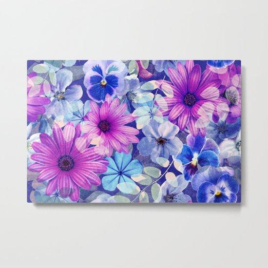 Dark pink and blue floral pattern Metal Print