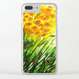 Sizzling Sunflowers Clear iPhone Case
