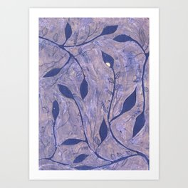 Blue ink vines Art Print