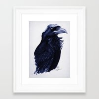 raven Framed Art Prints featuring .Raven by Isaiah K. Stephens