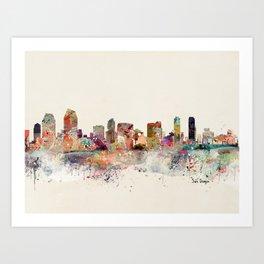 san diego skyline Art Print