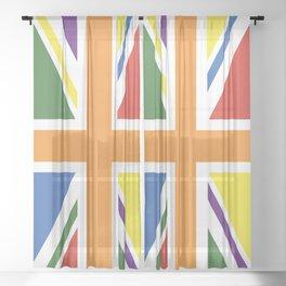 RAINBOW PRIDE UK FLAG LBGT LBGT+ LBGTQB+ Sheer Curtain