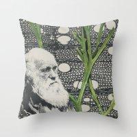 darwin Throw Pillows featuring Darwin-ing by Eleanor Boersma