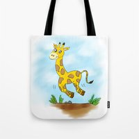 chad wys Tote Bags featuring Chad the Prancing Giraffe  by Nuanc3d