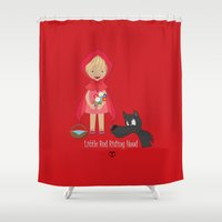 red riding hood Shower Curtains featuring Little Red Riding hood by MyimagesArt