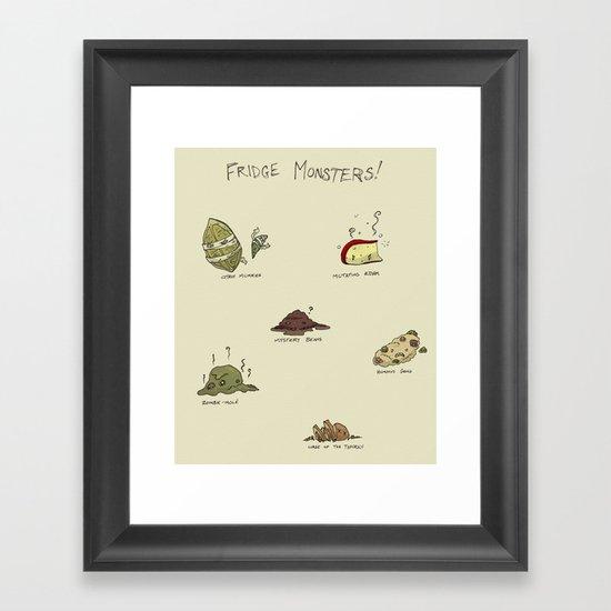 Fridge Monsters Framed Art Print